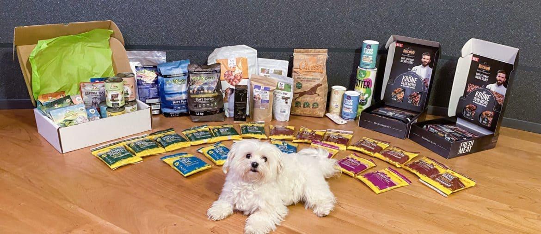 Hund mit verschiedenen Hundefutter Marken